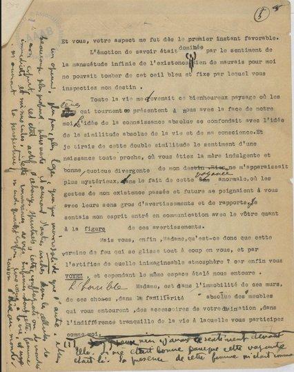 Antonin Artaud, Lettre à La Voyante pour André Breton, Février 1926